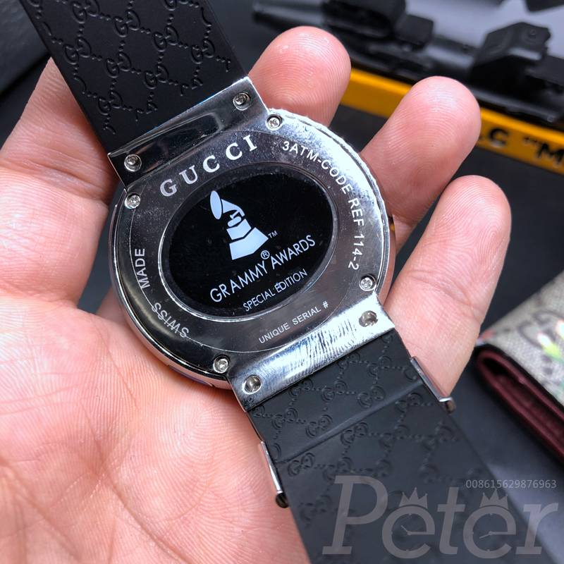 Gucci Grammy Edition diamonds silver case 45mm black rubber strap C050