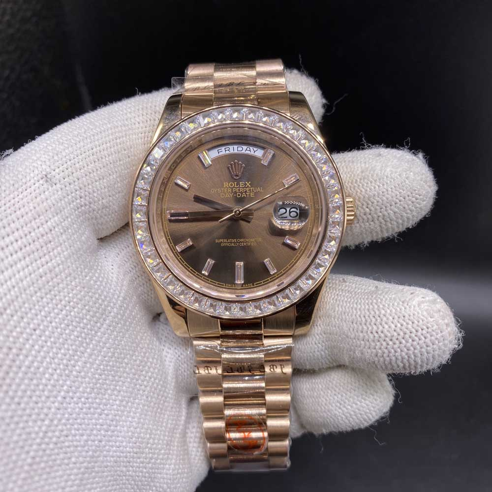 DayDate rose gold 41mm baguette diamonds bezel brown dial automatic AAA S033