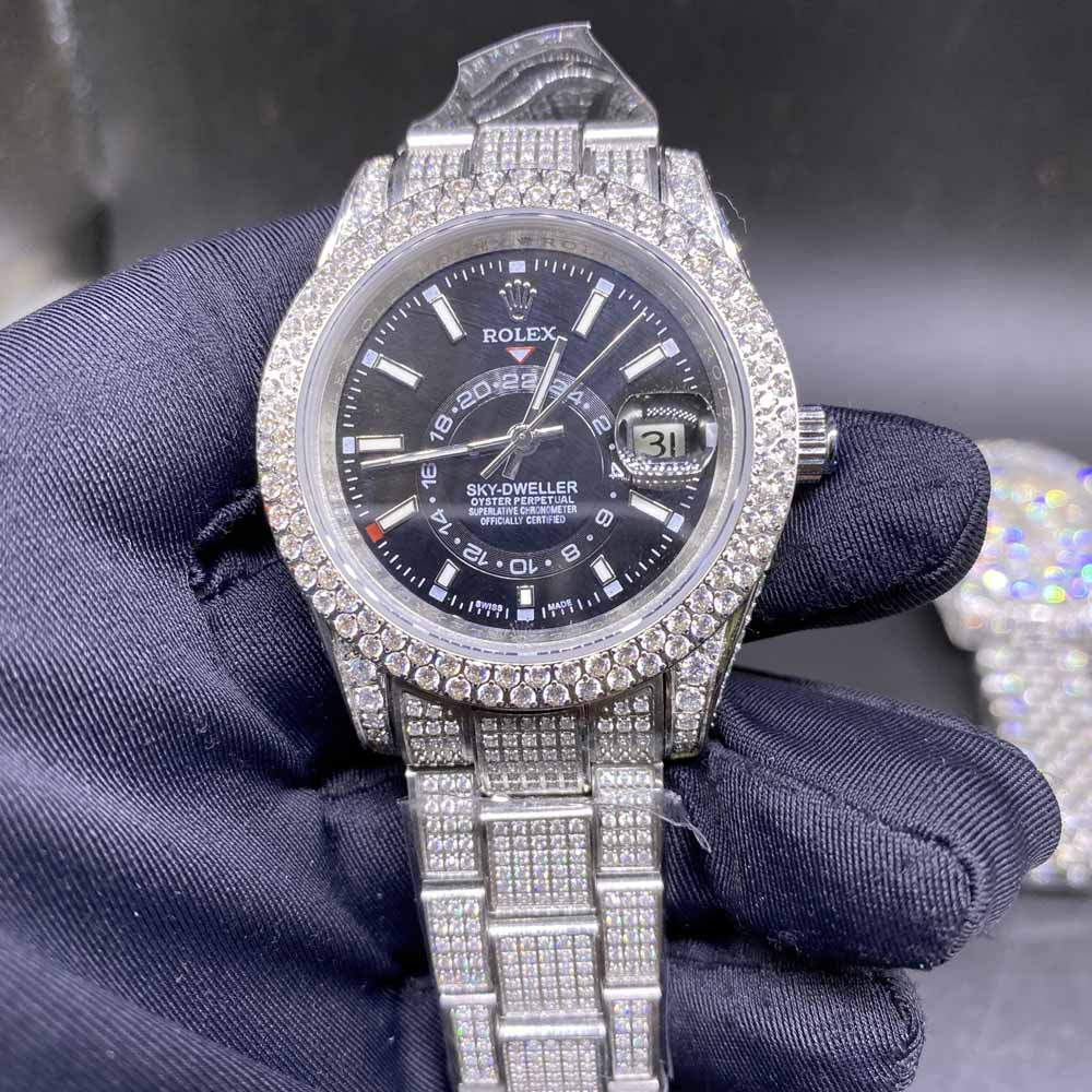 Sky-Dweller diamonds silver case 39.5mm black dial oyster band AAA automatic BL108