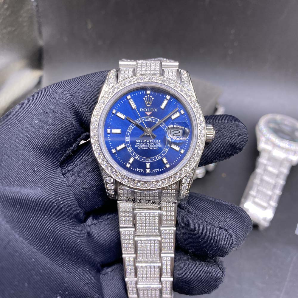 Sky-dweller 36mm blue dial full diamonds silver case oyster band AAA automatic MH102