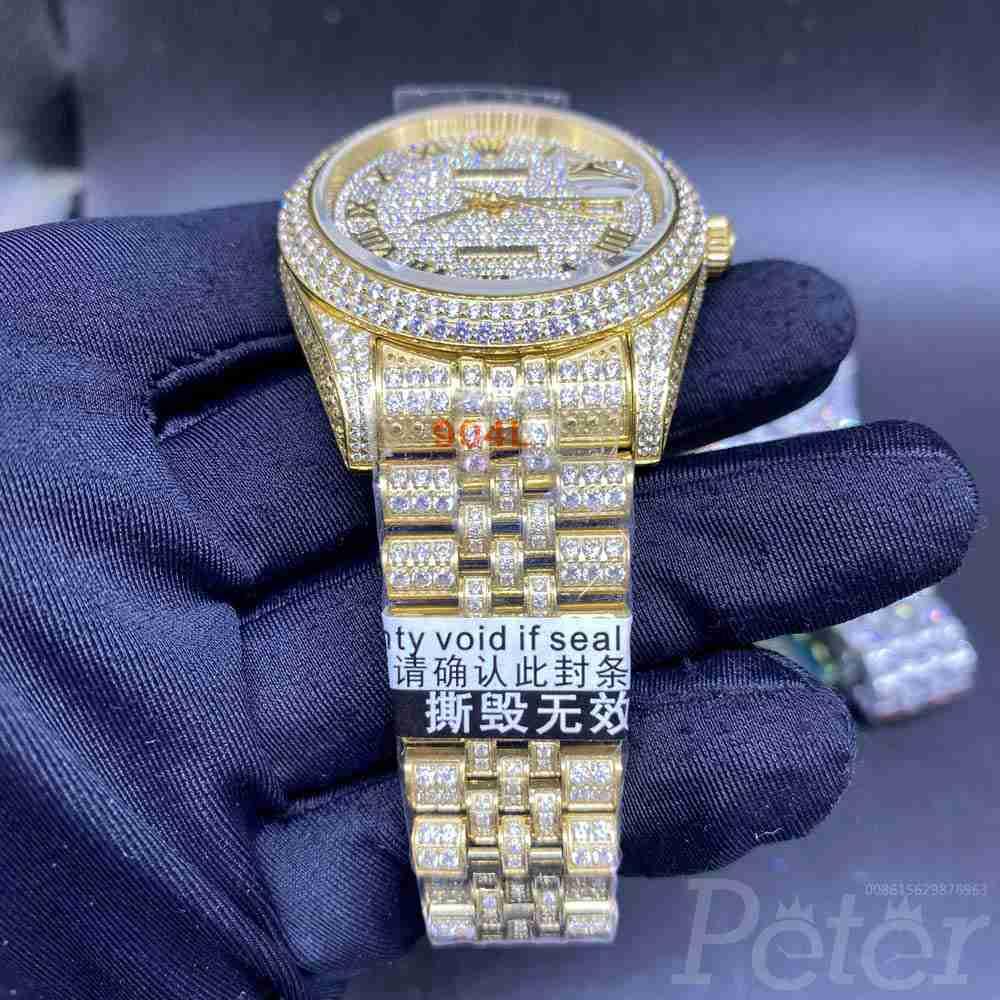 Datejust full diamonds gold case 40mm roman number jubilee band 3255 movement men watch XD230