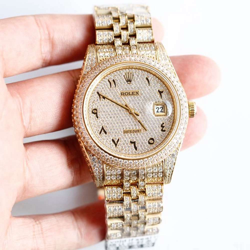 Datejust 40mm full diamonds gold case arabic numbers 3255 movement XD230