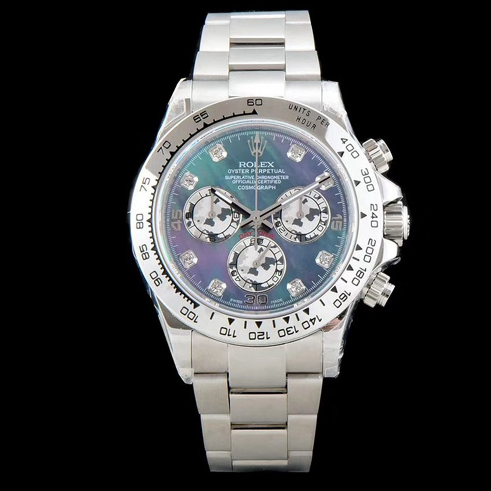 Daytona JH 4130 full works silver case 38.5mm blue pearl dial chronograph stopwatch WTxxx