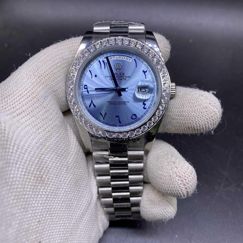 Daydate 40mm diamonds bezel blue dial arabic numbers AAA automatic 2813 S024