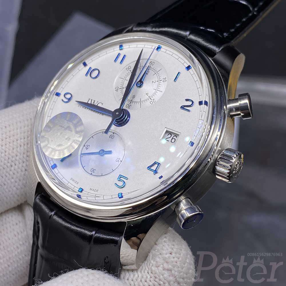 IWC ZF factory 7750 movement silver case 42mm black leather strap full works stopwatch M155