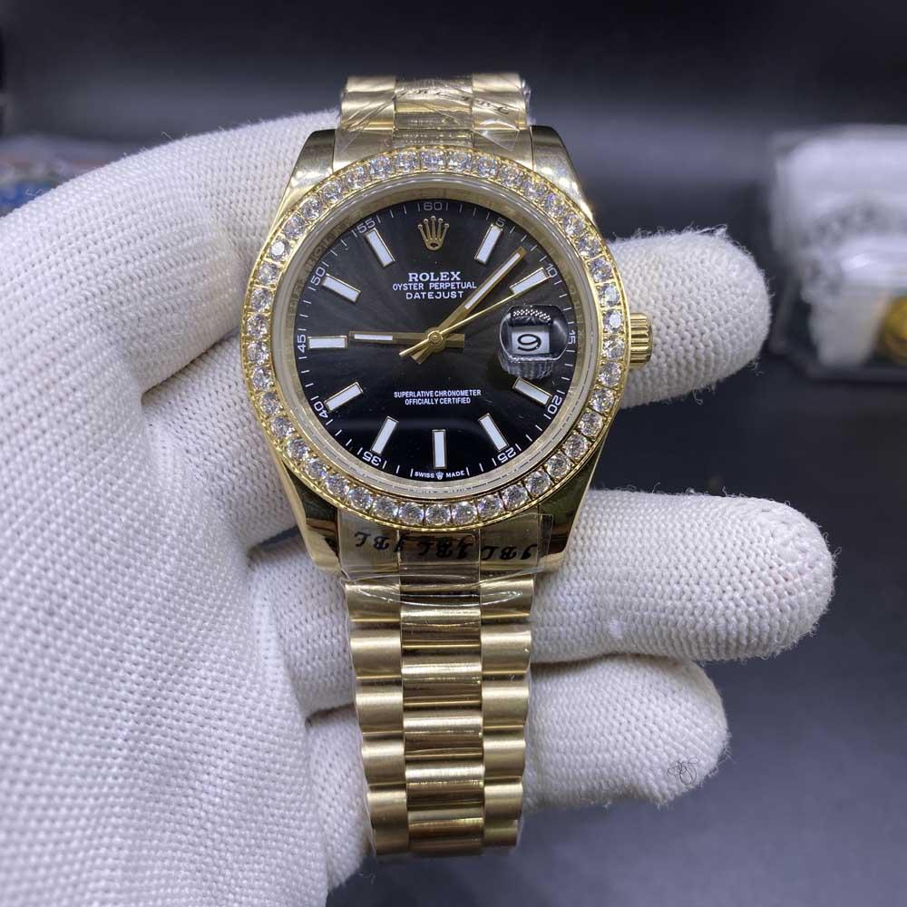 Datejust 40mm AAA automatic gold case black dial diamonds bezel men watch S025