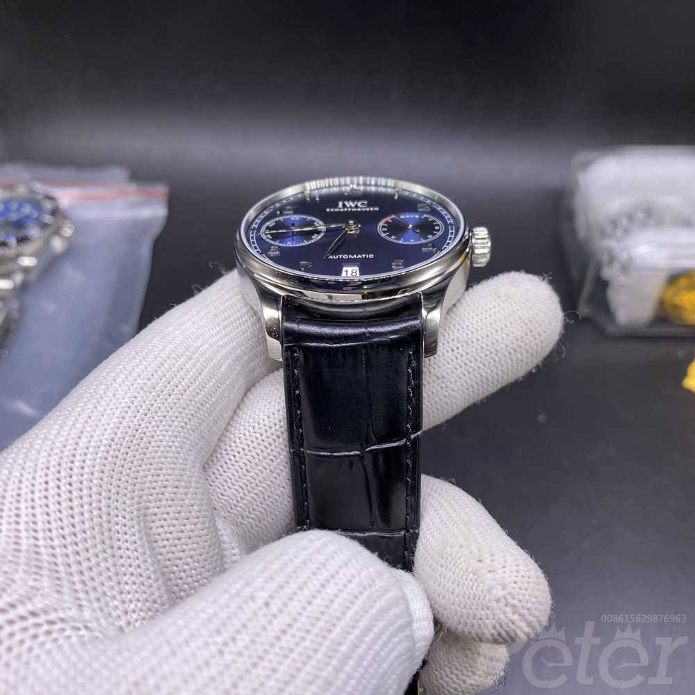 IWC swiss grade silver case blue dial black leather 41.5mm WT165