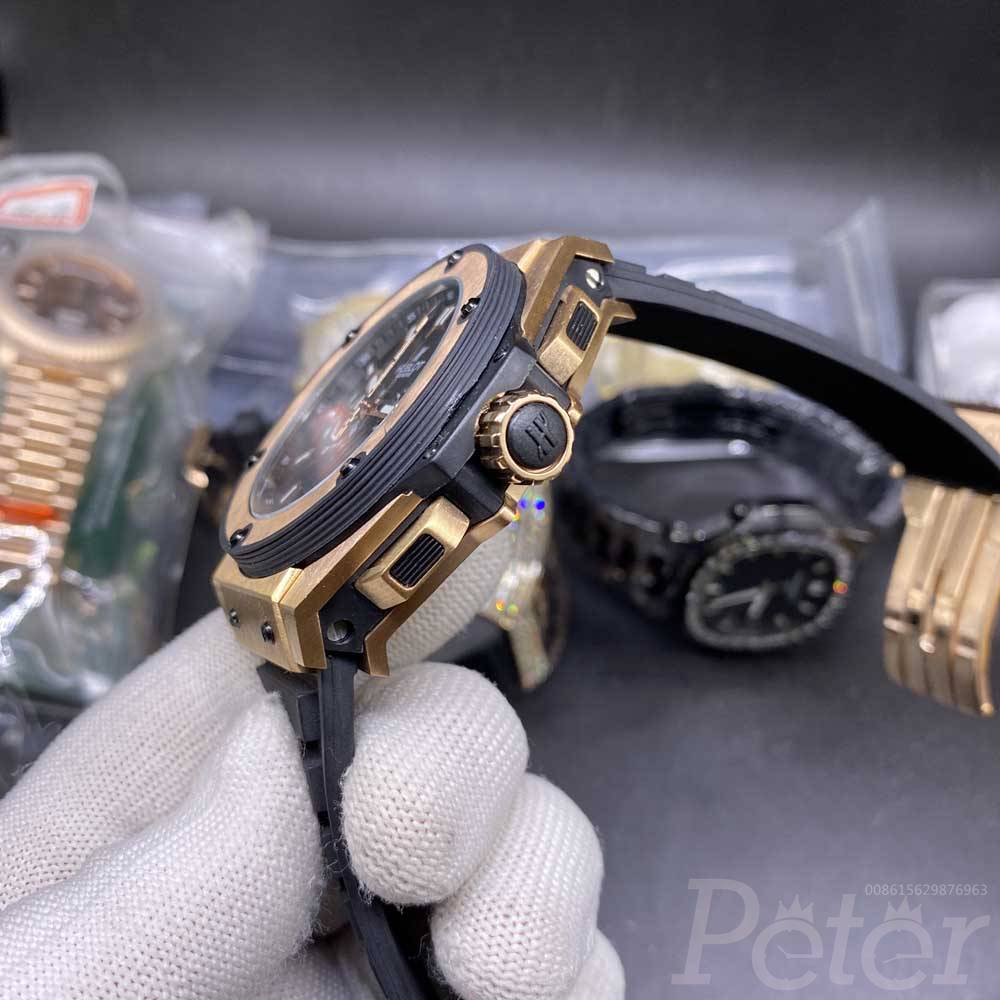 Hublot rose gold vk quartz movement 46mm black rubber strap stopwatch XJ032