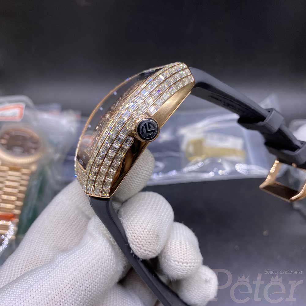 FM baguette diamonds rose gold case 44x54mm automatic Miyota WS102