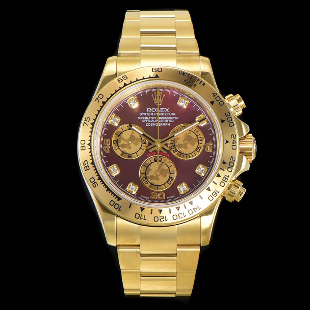 Daytona JH factory gold case 38.5mm red dial chronograph 4130 movement WTxxx
