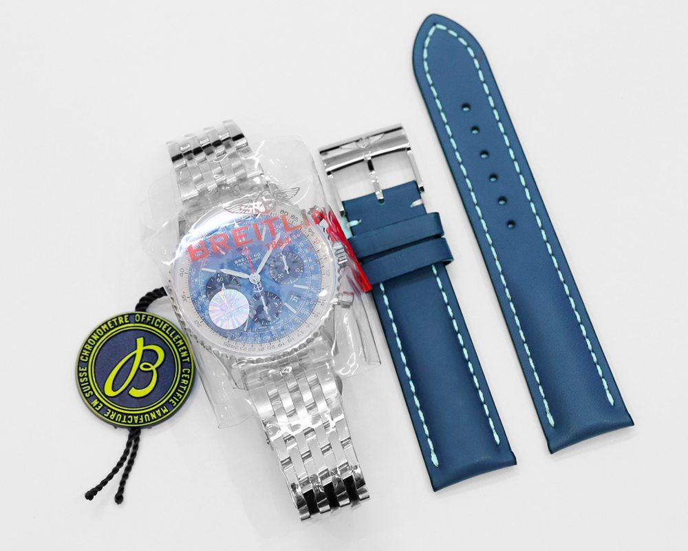 Breitling silver/blue 43mm Navitimer full works 7750 automatic GF factory WSxxx
