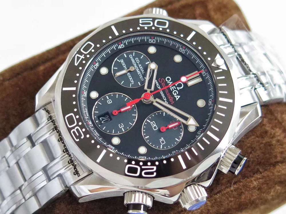 Omega Seamaster Chronograph 7753 full works black dial high grade M130