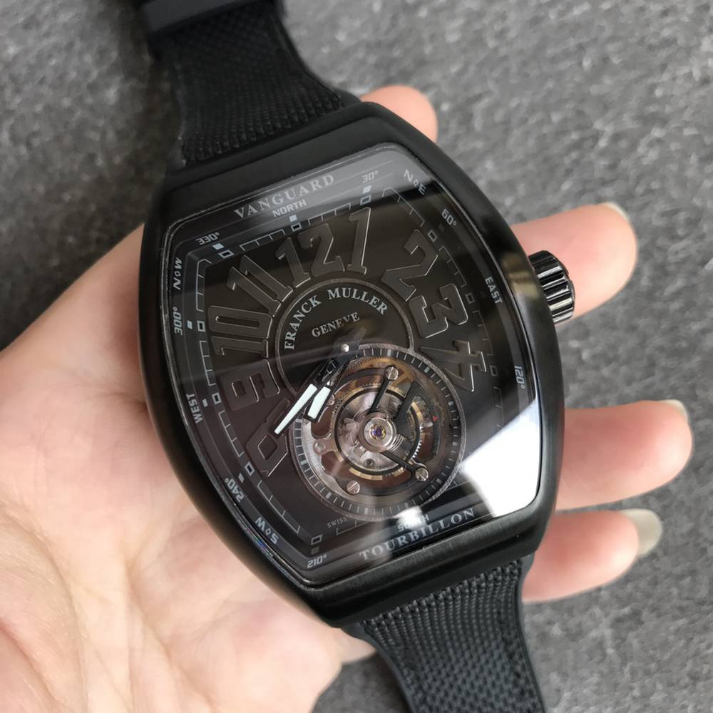FM2001-02 V45 hands-winding real Tourbillon all black case luxury men watch WTxxx