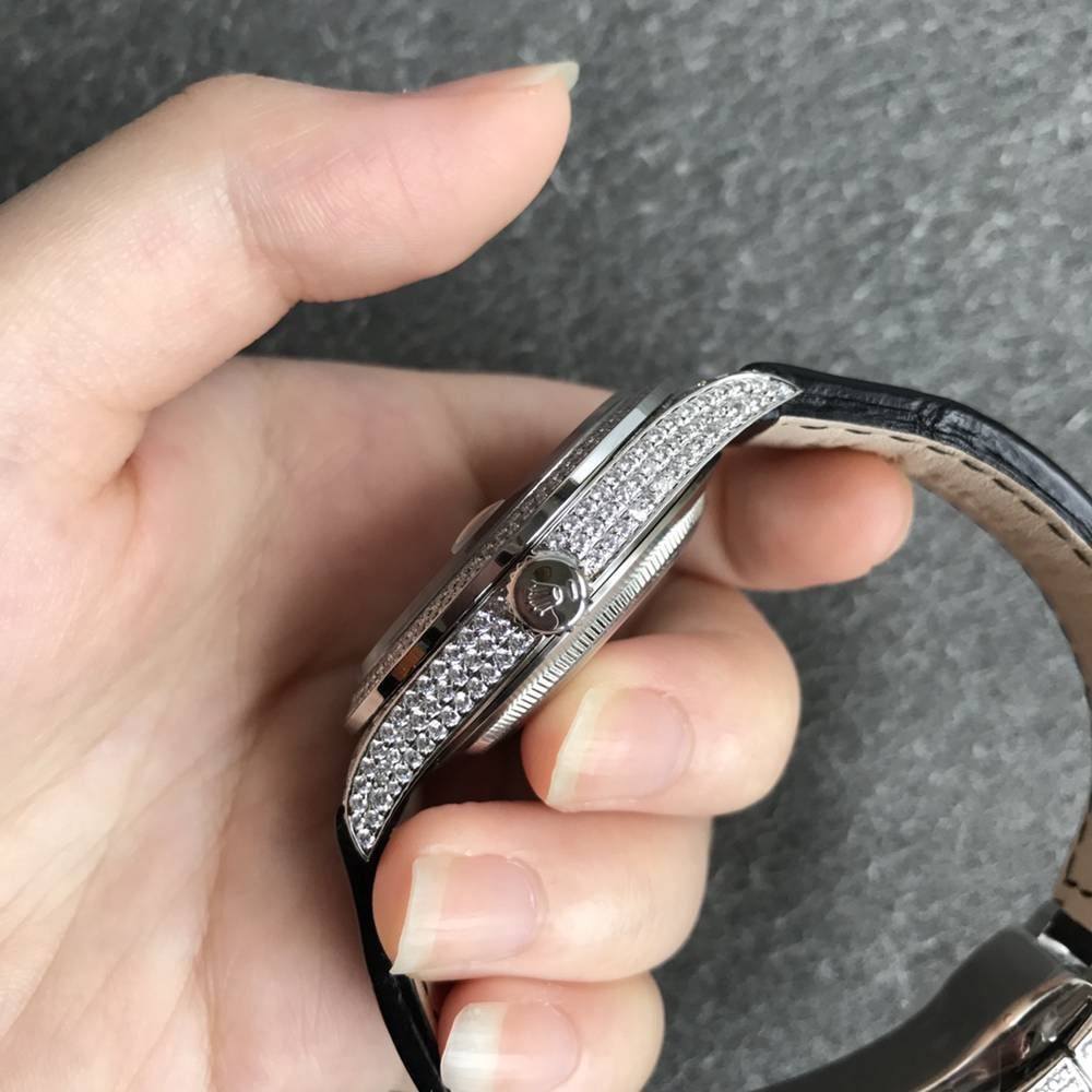 Datejust full diamonds bling stones 2836 movement black leather strap 40mm WTxxx