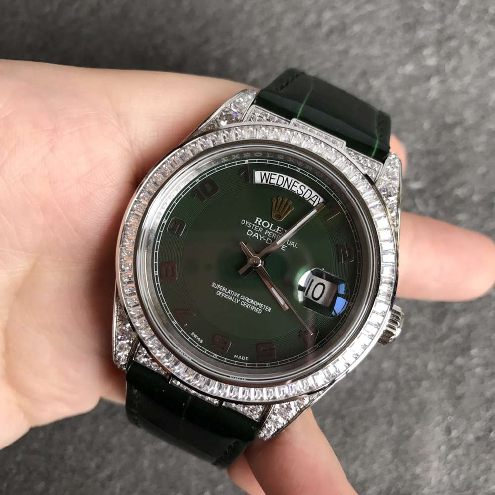 DayDate diamonds high grade 2836 movement 40mm 904L steel green leather strap WTxxx