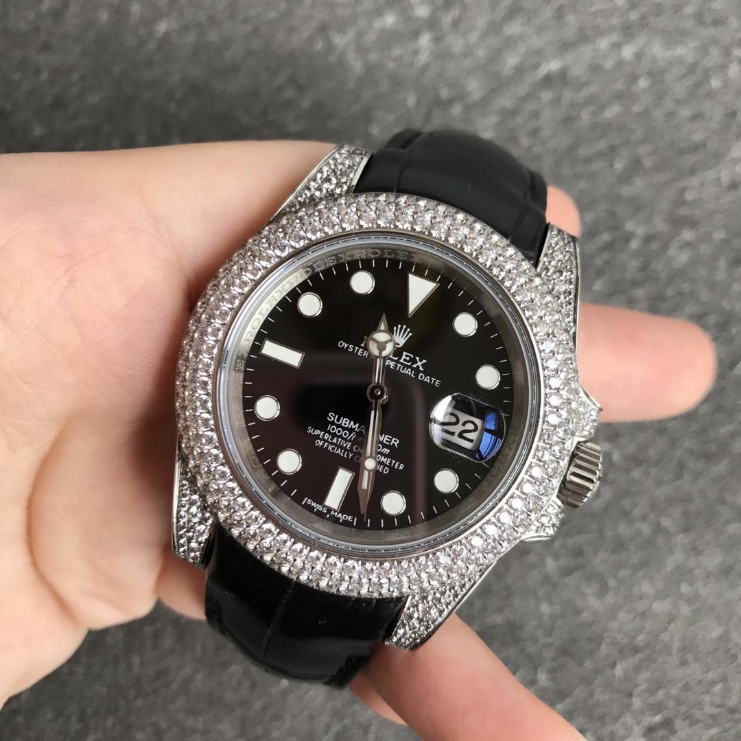 SUB V3 diamonds silver case 40mm black leather strap 2824 movement WT180
