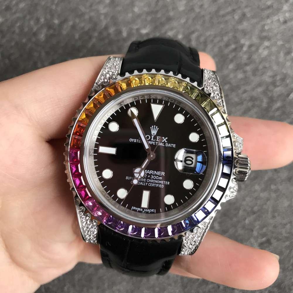 SUB rainbow bezel zircon diamonds 904L steel case black leather strap V3 2824 WT180