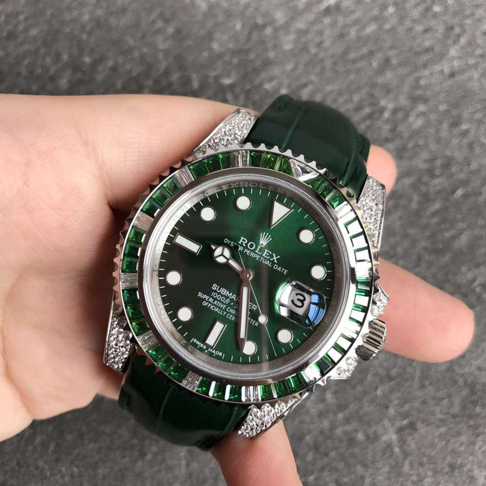 SUB diamonds green bezel 40mm green dial green leather strap ETA 2824 movement WT180