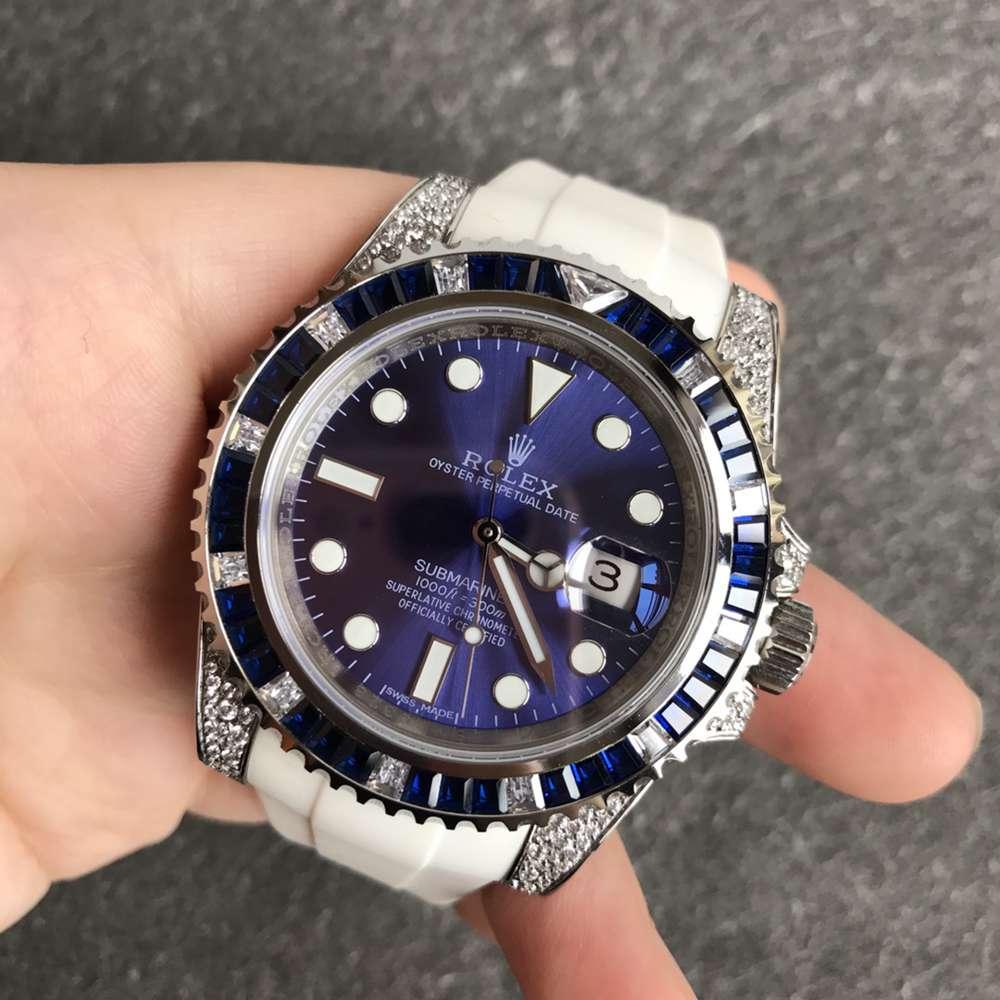 SUB blue stones bezel diamonds case 40mm ETA 2824 movement V3 904L steel white rubber WT180