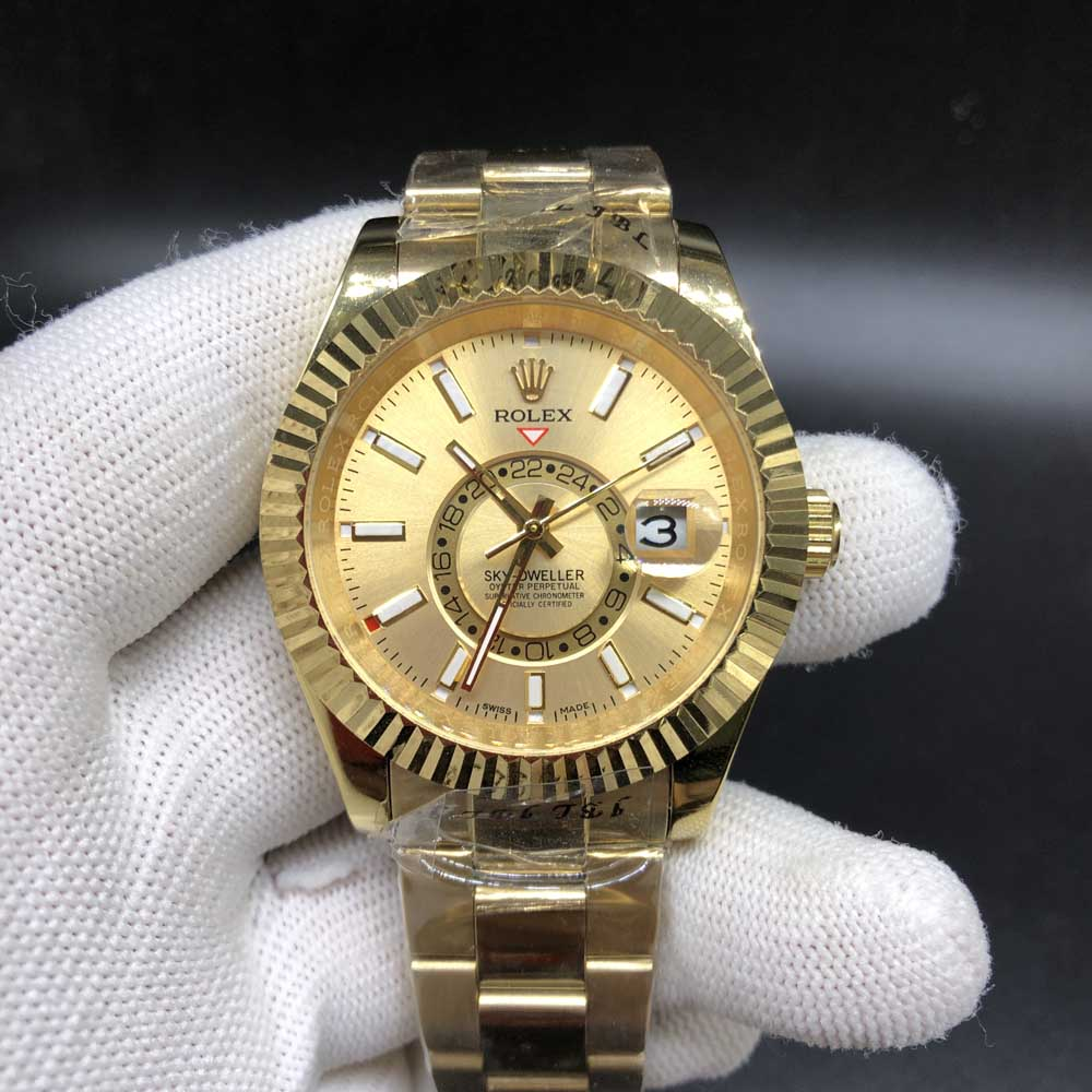 Sky-Dweller gold case gold face 41mm AAA automatic men replica watch S032