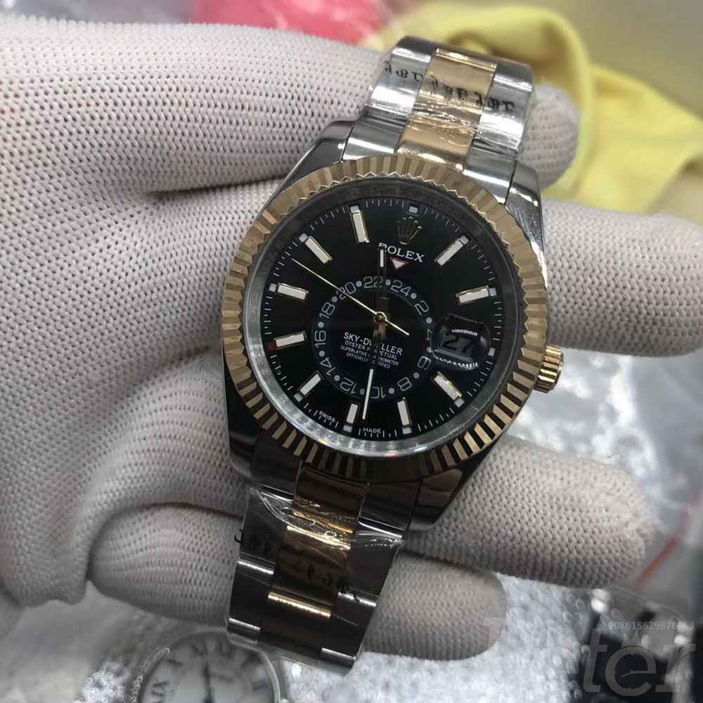 Sky-Dweller 2tone gold case 41mm black dial AAA automatic stainless steel replica watch S032