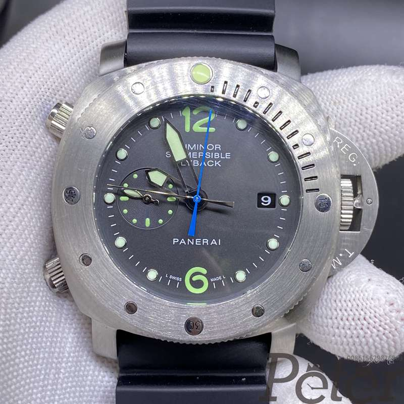 Panerai flyback 47mm silver case black dial black rubber strap AAA automatic HZ048