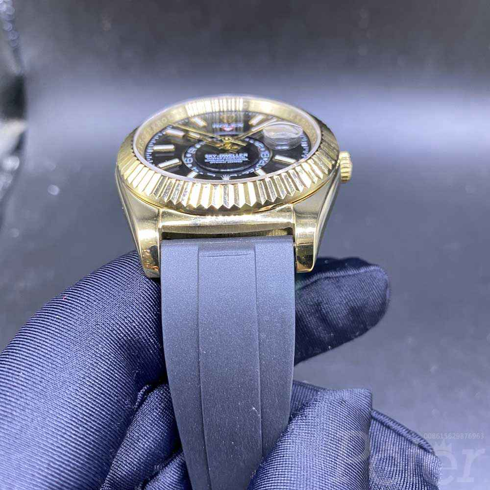 Sky-Dweller gold case 41mm black dial oysterflex rubber strap AAA automatic S034