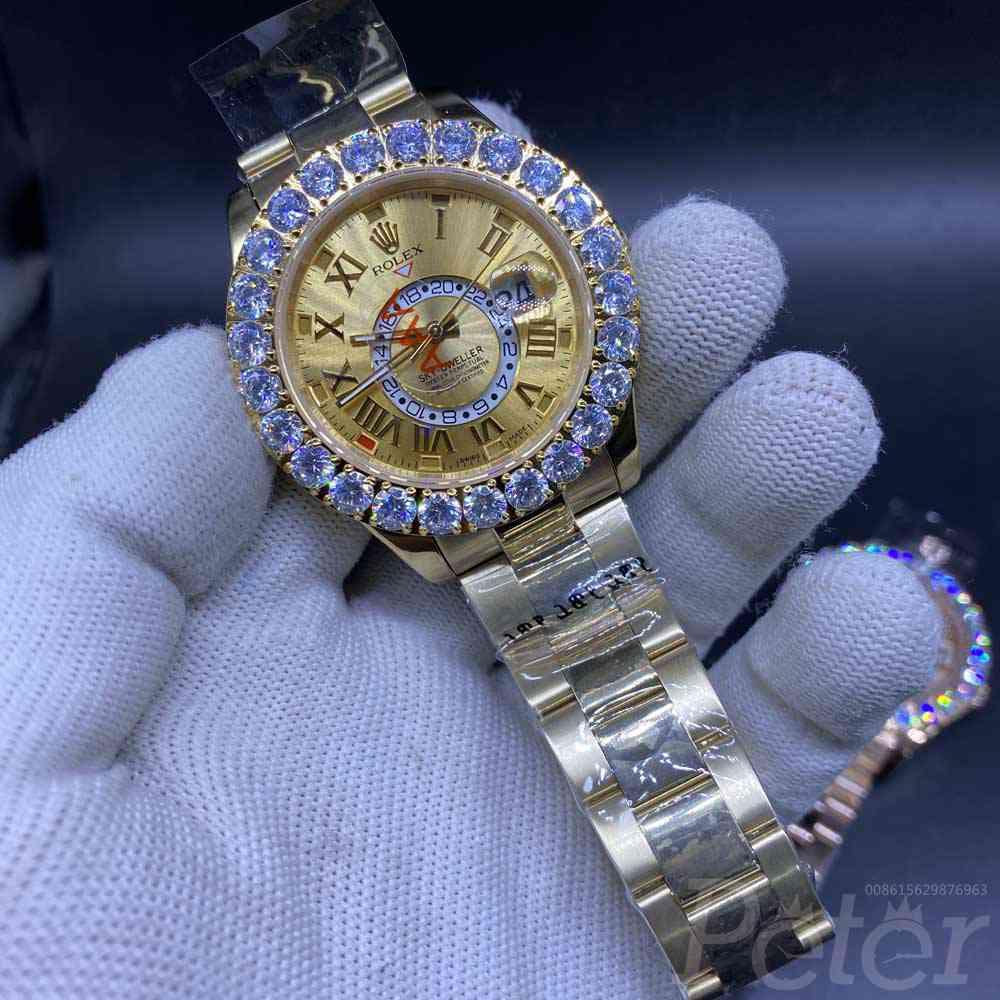 Sky-Dweller 43mm prongset bezel full yellow gold roman numbers AAA automatic S038