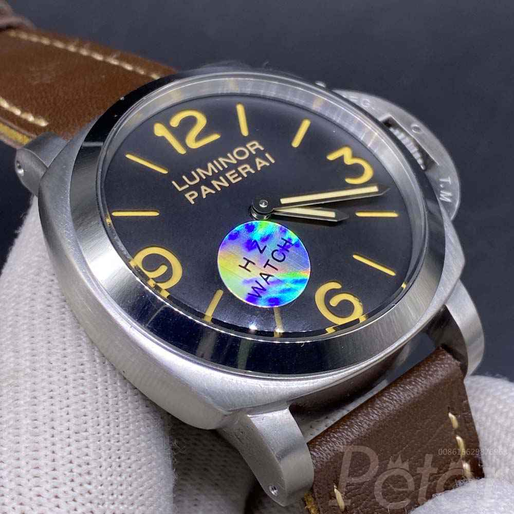 Panerai Luminor silver case 45mm black dial brown leather AAA automatic HZ035