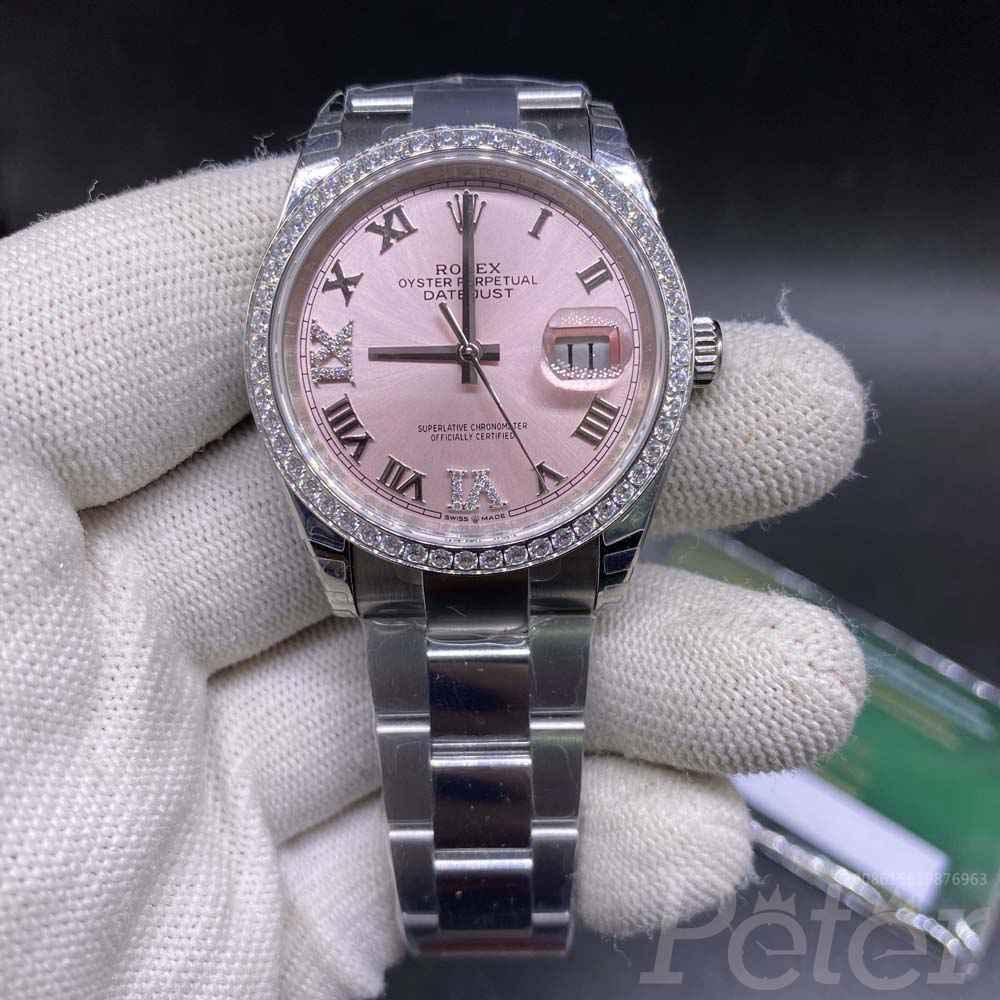 Datejust 36mm EW factory 3235 Pink dial diamonds bezel Swiss 1:1 grade M115