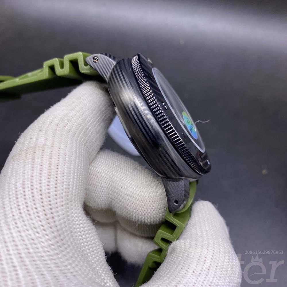 Panerai Submersible black case 47mm green rubber strap AAA automatic men watch HZ050