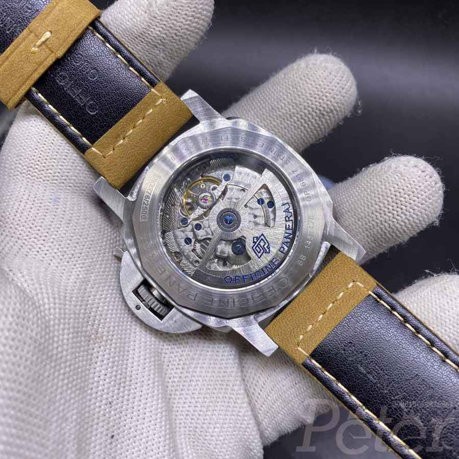 Panerai Luminor Marina silver case 45mm white dial brown leather strap AAA HZ035