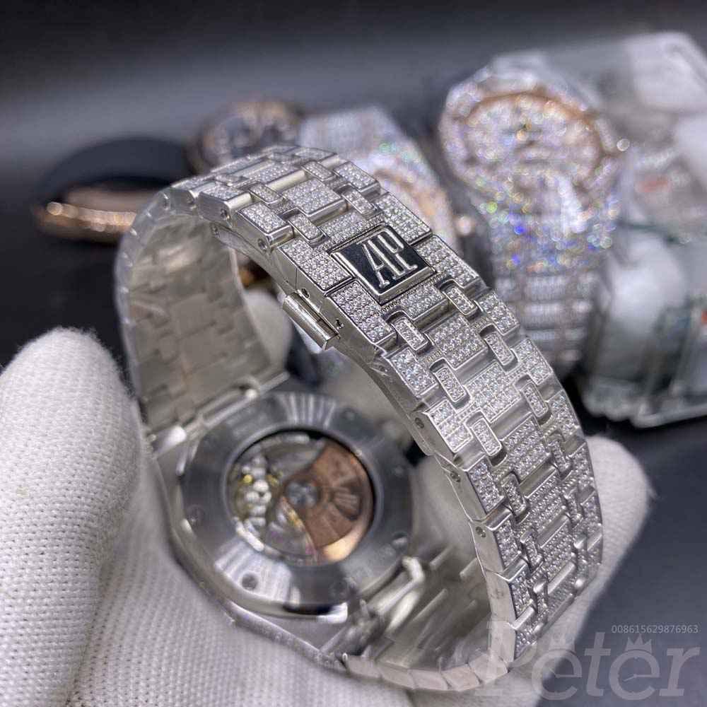 AP diamonds silver case 42mm black Arabic numbers shiny zircon stones AAA automatic M140