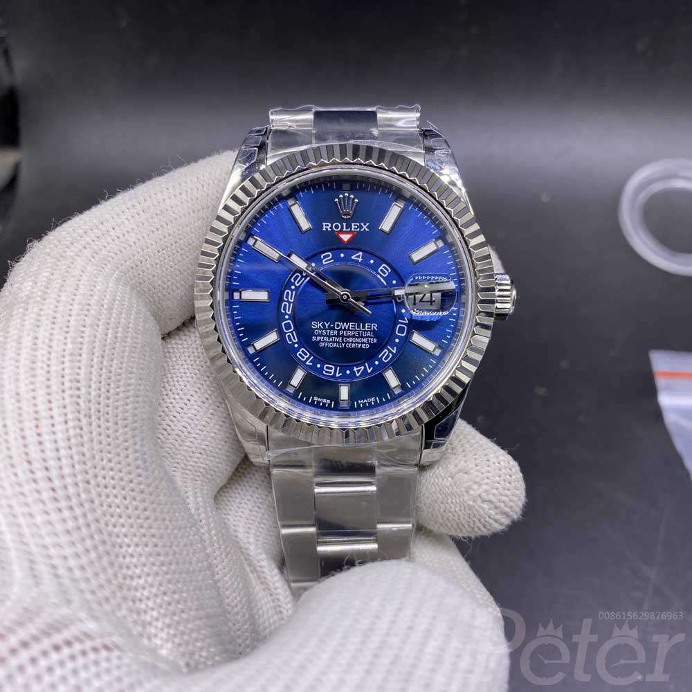 Sky-Dweller 42mm Noob factory 9001 all works silver case blue dial top grade WT150