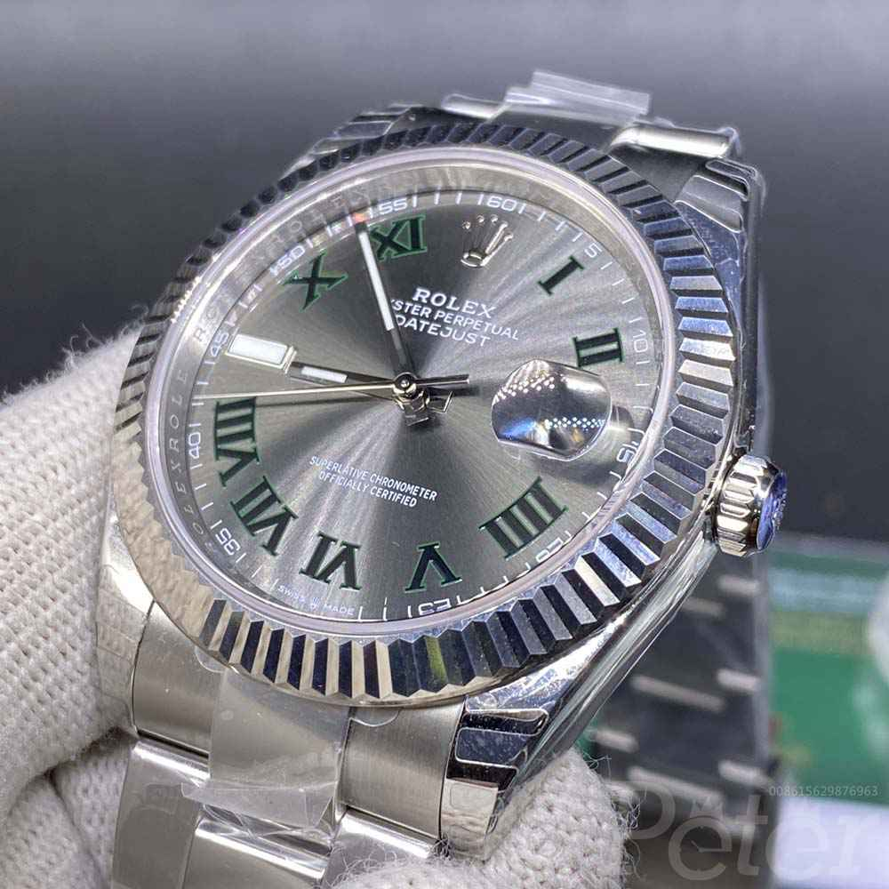 Datejust 39mm EW factory 3235 movement silver case gray dial roman numbers WT110
