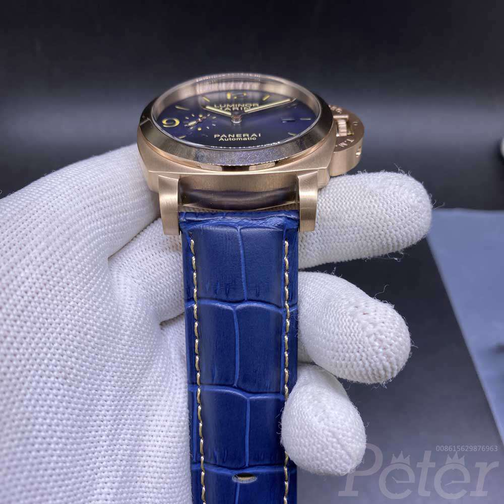 Panerai Luminor Marina rose gold case 45mm blue dial blue leather AAA automatic HZ034