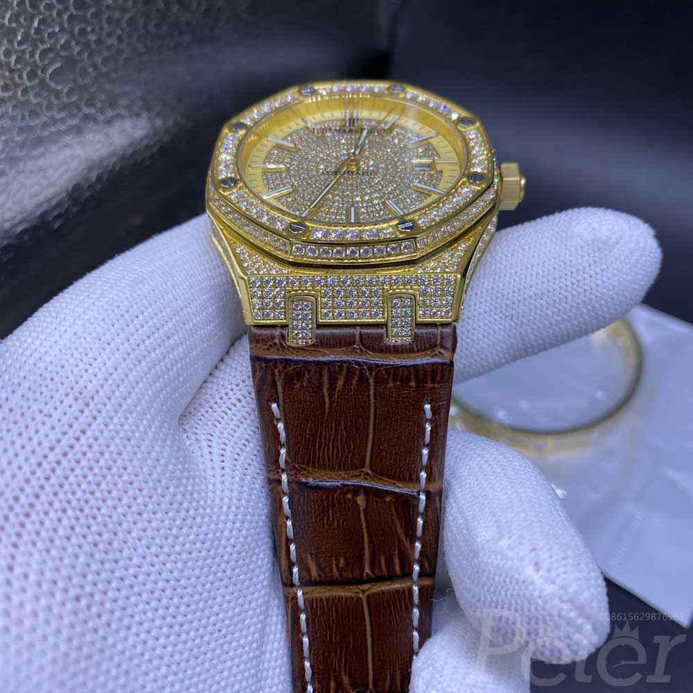 AP diamonds yellow gold case 41mm automatic men watch brown leather strap XJ075