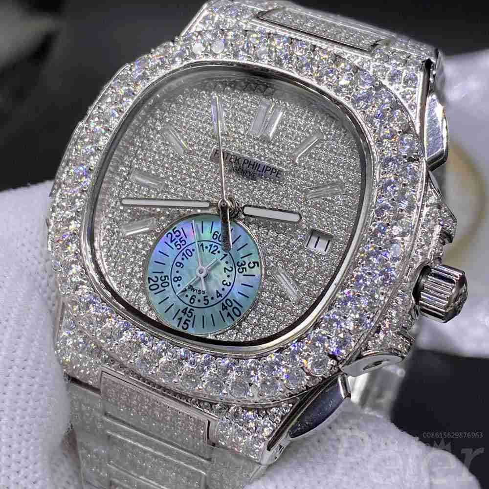 Patek full diamonds silver case 40mm stone numbers blue sub-dial AAA automatic BL230