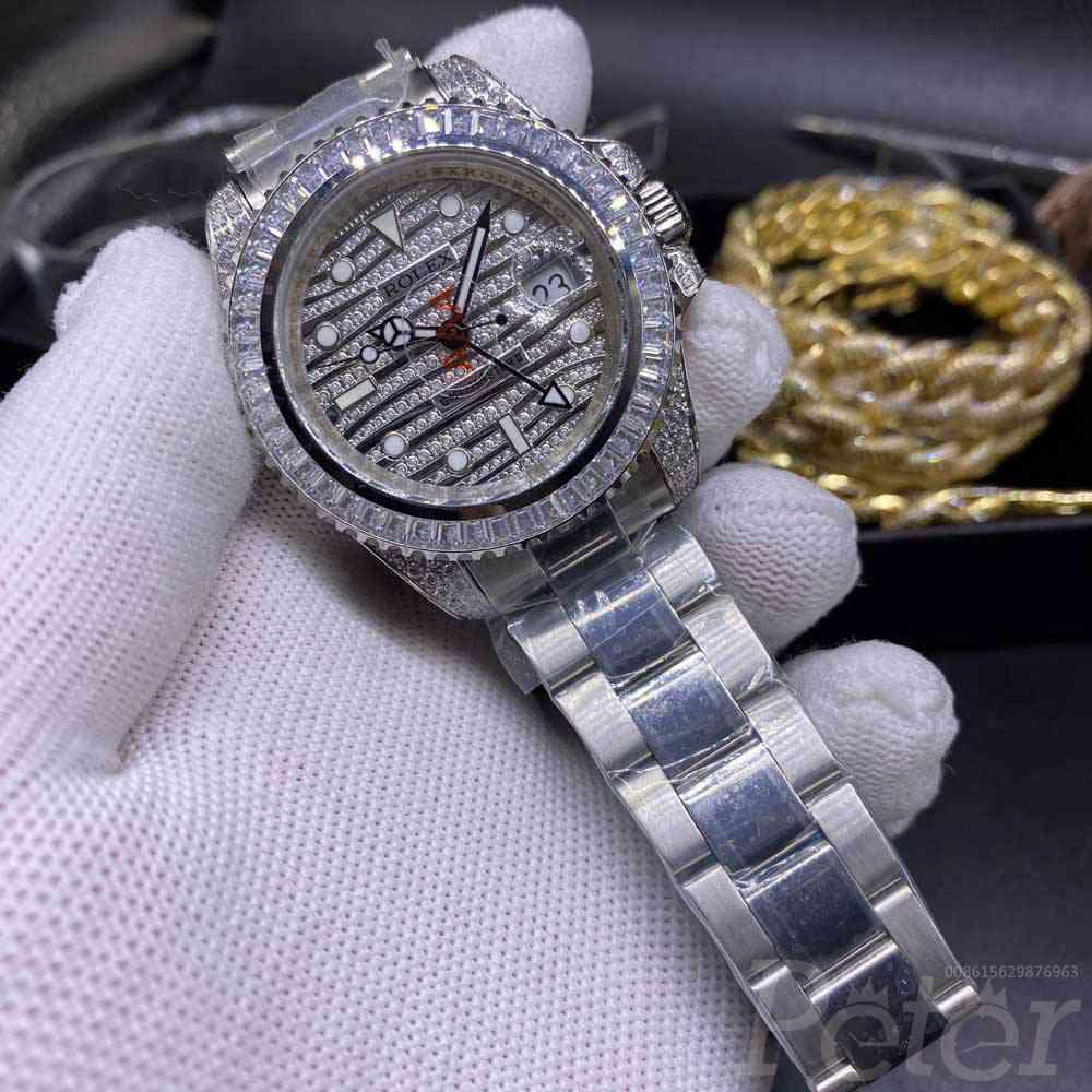 GMT AAA baguette stones bezel 40mm diamonds face automatic 2813 movement men watch WS055