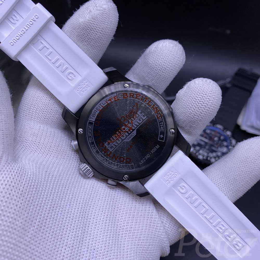 Breitling Endurance quartz movement black case 44mm black/white rubber M058