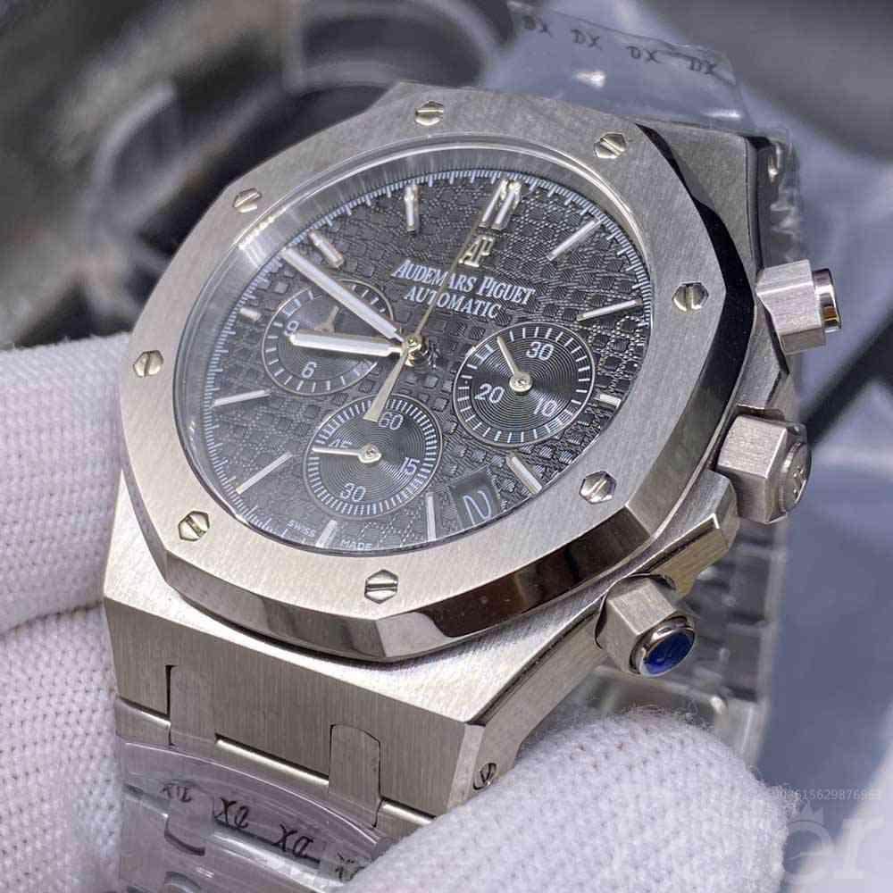 AP quartz movement vk silver case 42mm black dial men's stopwatch XJ028