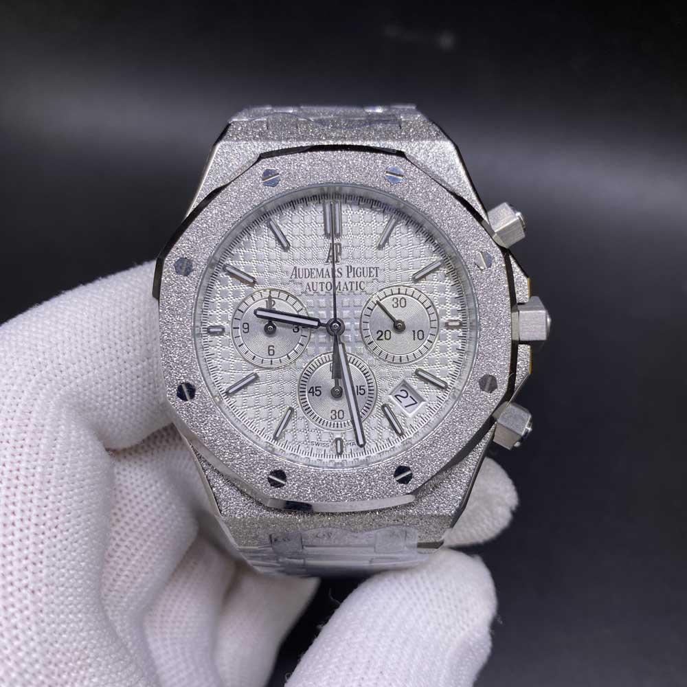 AP frosted silver case 42mm full chronograph vk quartz AAA men stopwatch XJ036