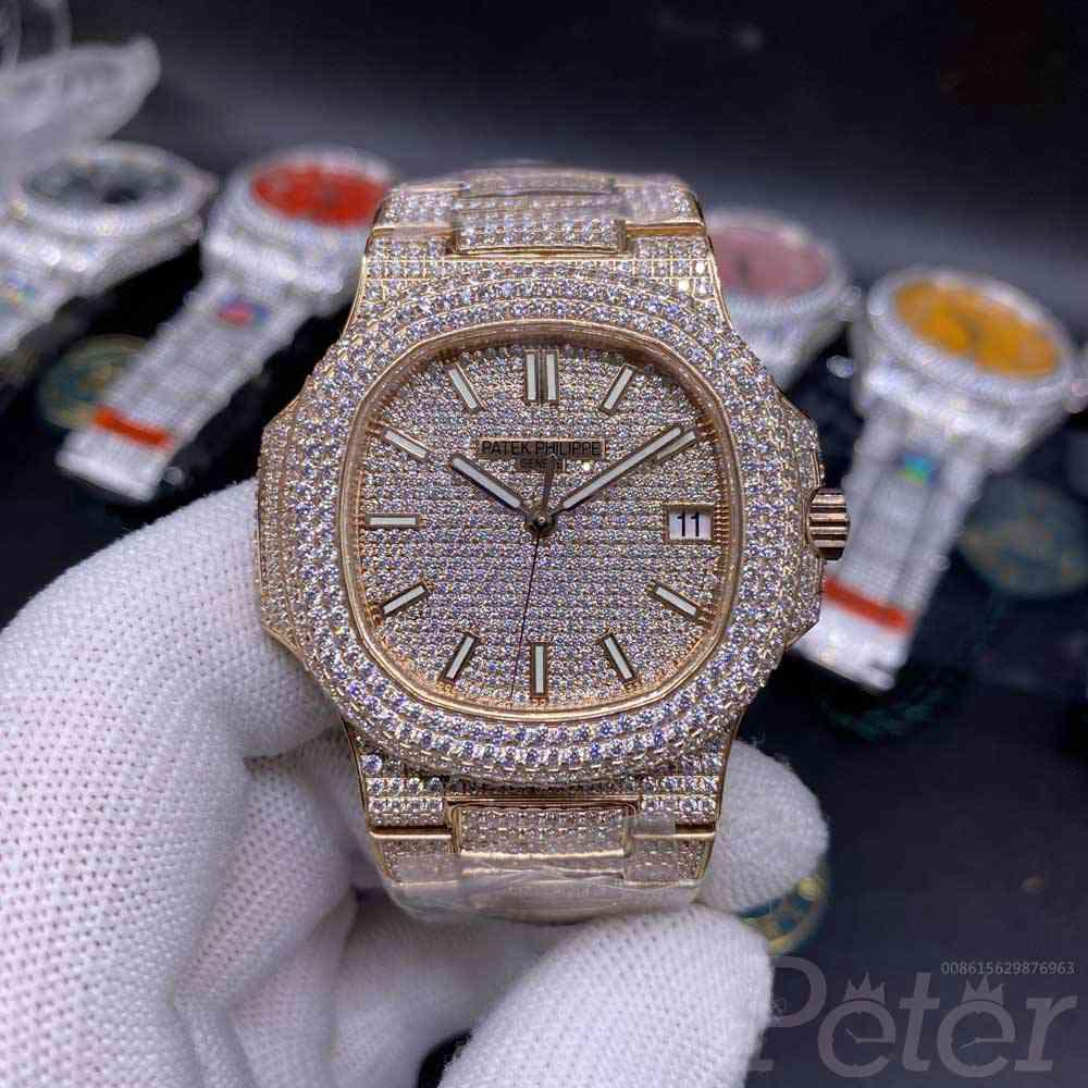 Patek bustdown diamonds rose gold case 40mm Cal.324 automatic men luxury watch WT285