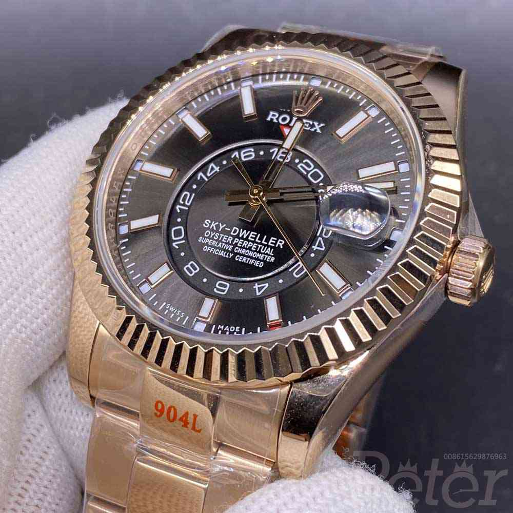 Sky-Dweller 42mm full works rose gold case brown dial Noob 9001 replica Rolex WT155