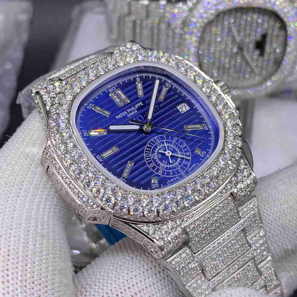 Patek full iced out silver case 40mm blue dial AAA automatic big diamonds bezel stone numbers BL230