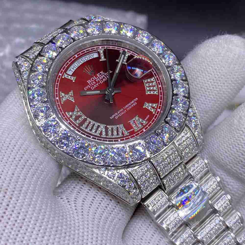 DayDate 44mm red face diamonds roman numbers prongset bezel men AAA automatic M085