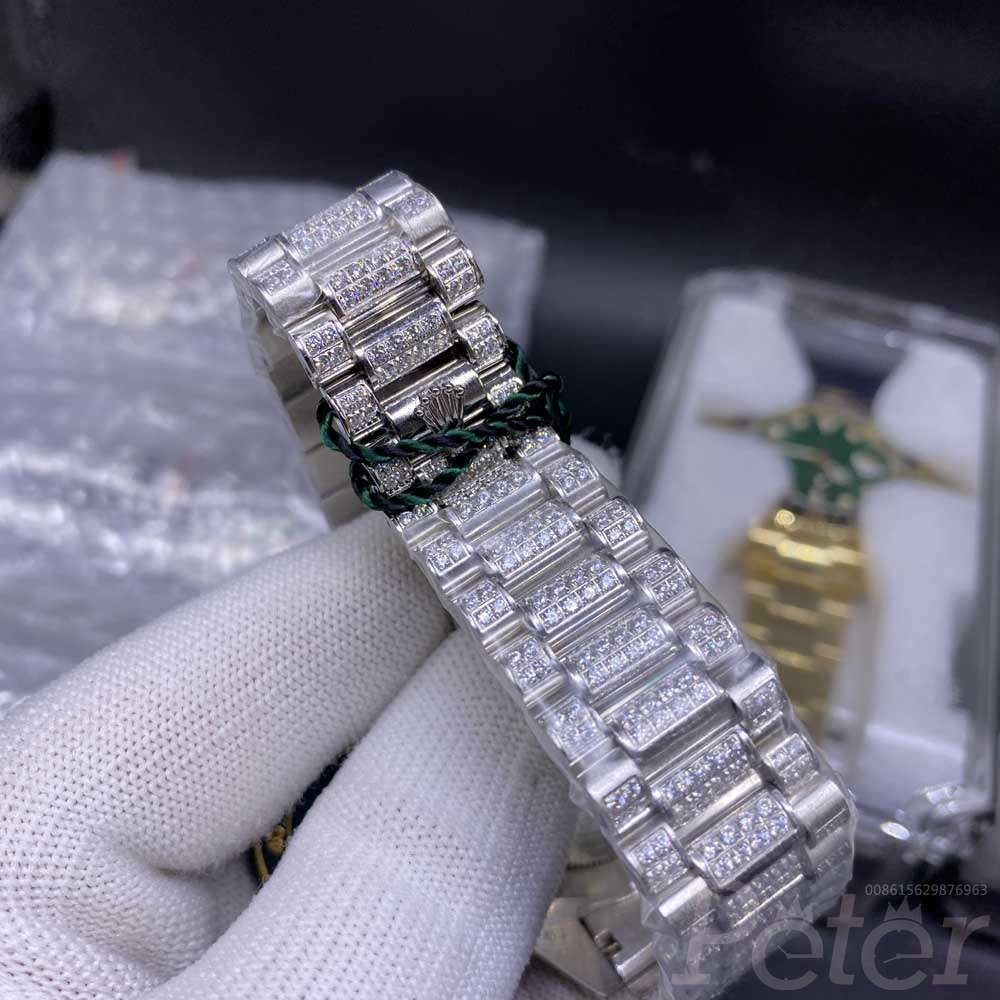 DayDate 44mm AAA automatic Arabic numbers diamonds face prongset bezel M
