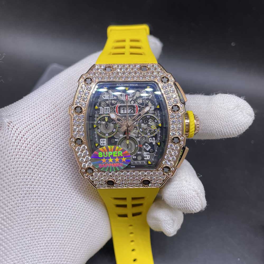 RM11-03 diamonds rose gold case Chronograph 7750 full works yellow rubber strap M285
