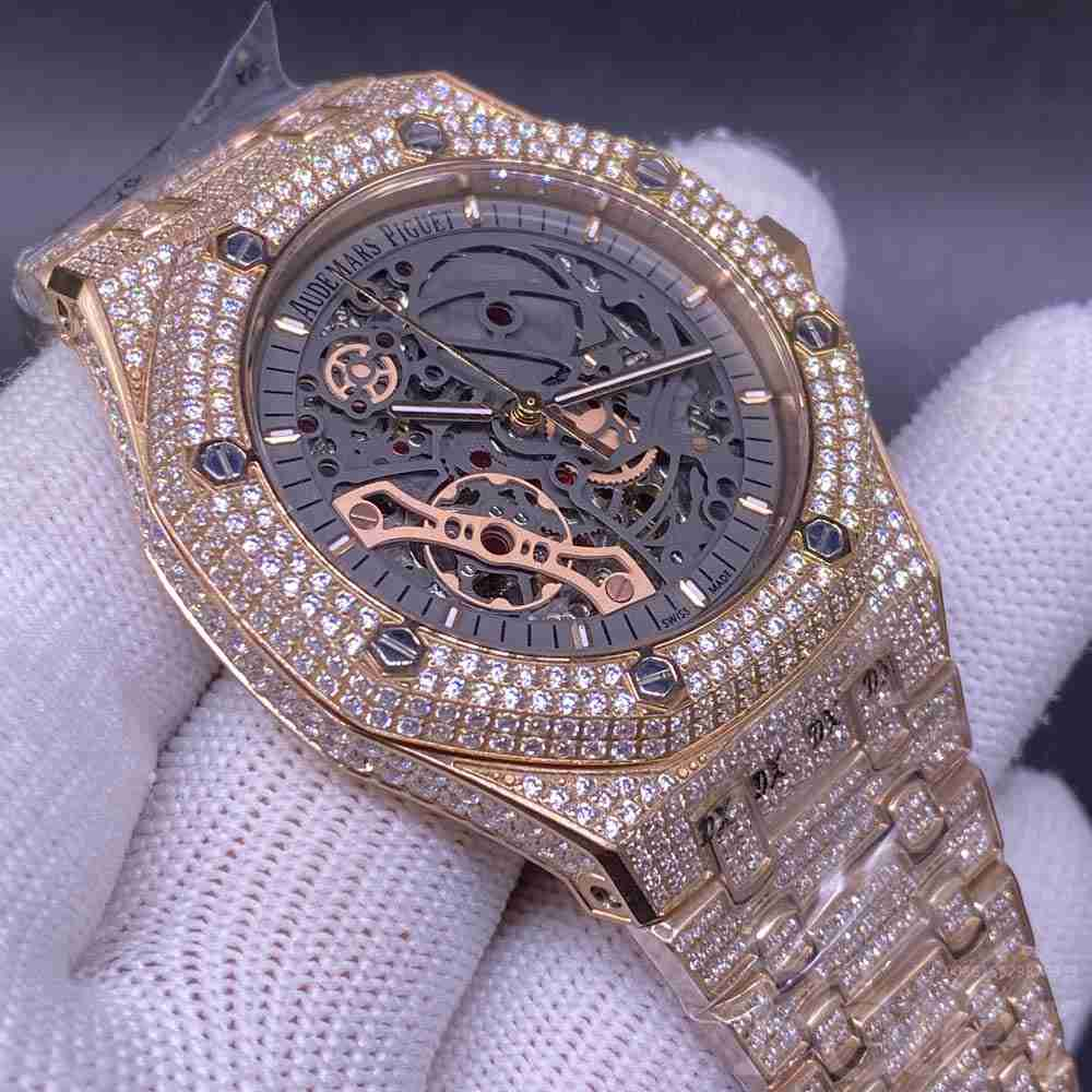 AP diamonds rose gold case 42mm AAA automatic shiny replica men watch XJ150