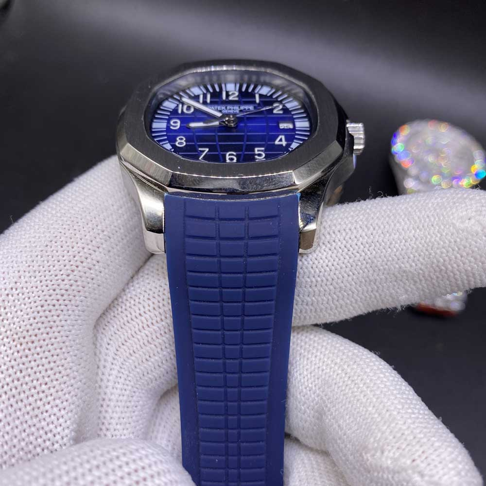 Patek AAA silver/blue 41mm blue rubber strap automatic men watch XJ024